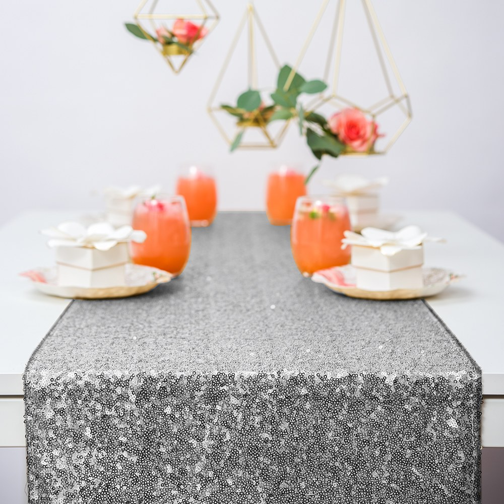 Modern Sparkle Sequin Table Runner - Metallic Silver