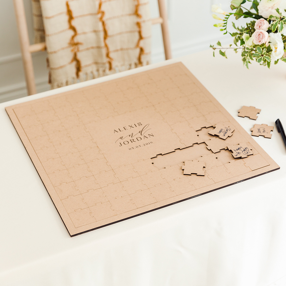 Personalized Wooden Square Puzzle Wedding Guest Book - Modern Couple