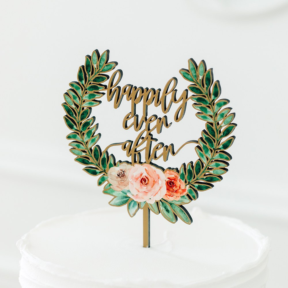 Natural Wood Cake Topper Decoration - Floral Happily Ever After