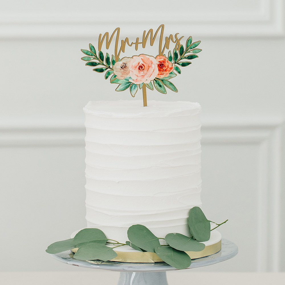 Natural Wood Cake Topper Decoration - Floral Mr + Mrs