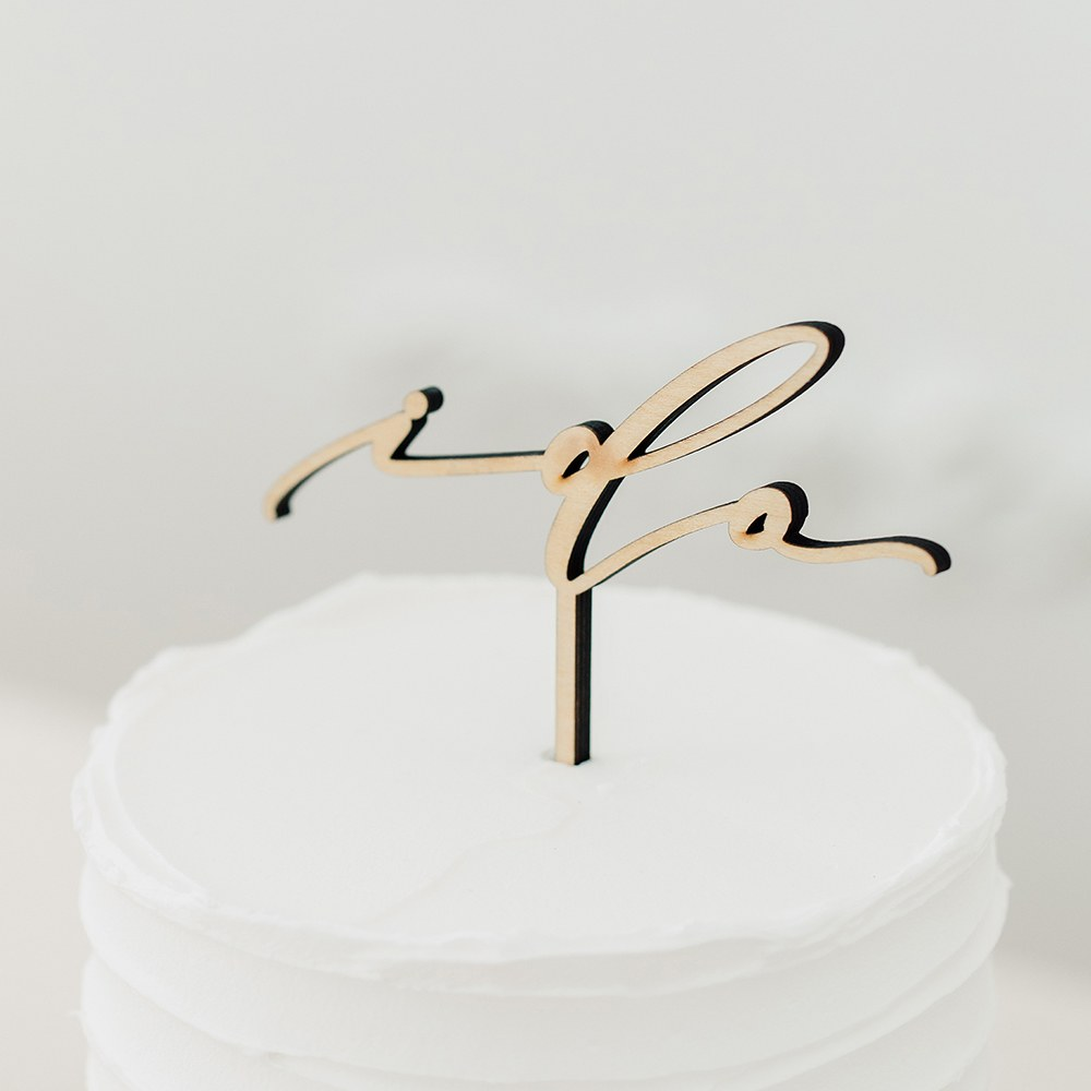 Natural Wood Cake Topper Decoration - I Do