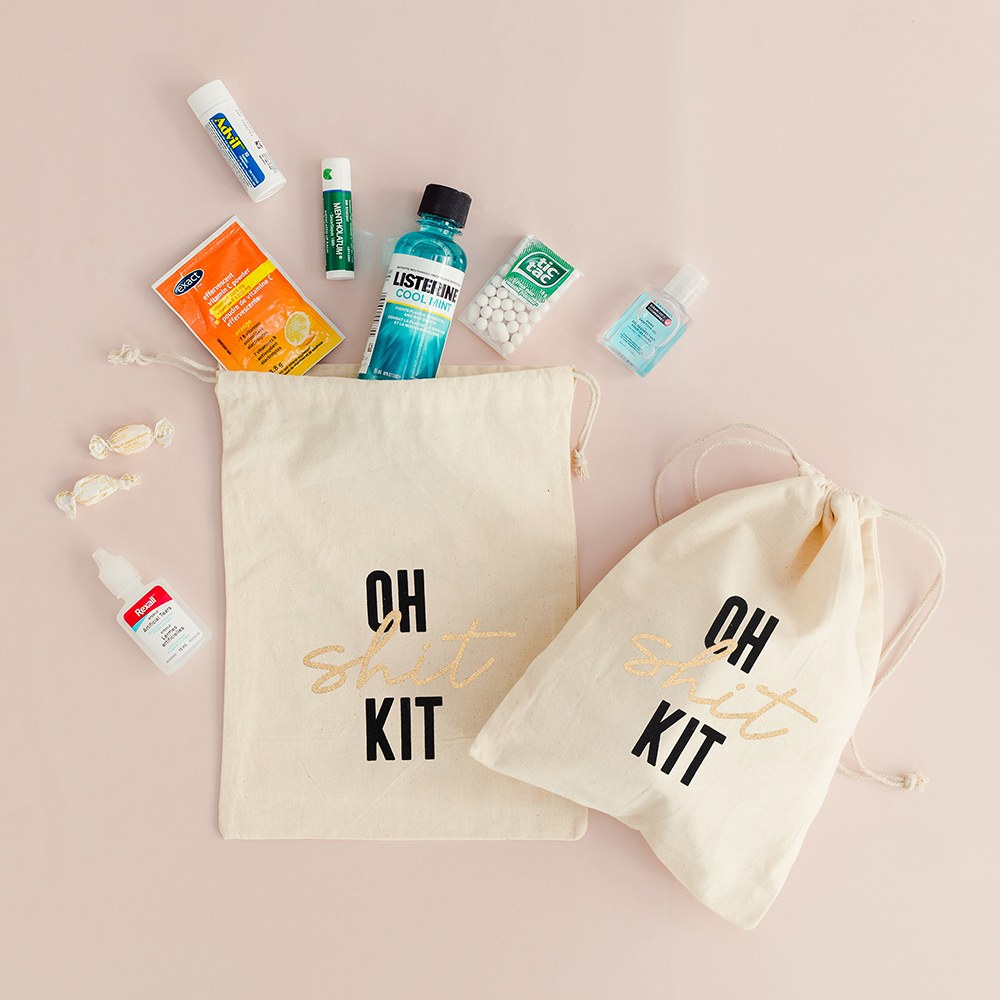 Hangover Survival Kit White Cotton Drawstring Bag - Oh Shit Kit