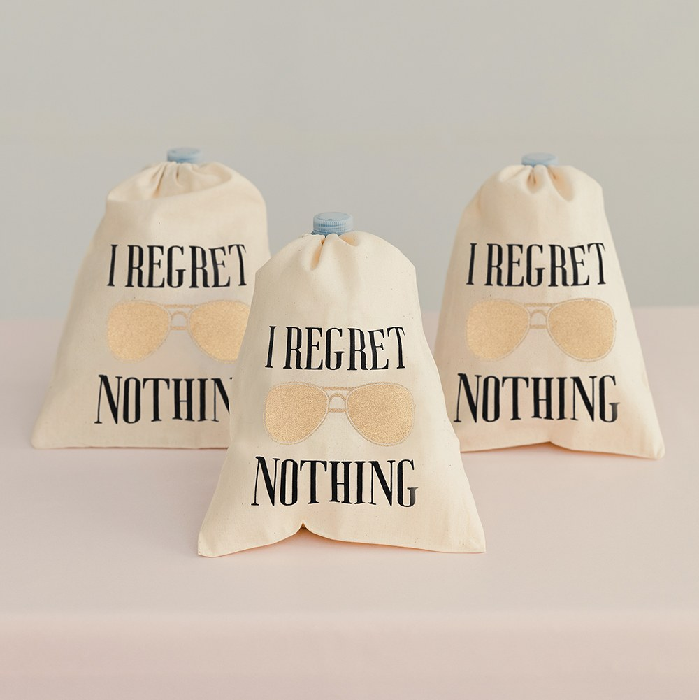 Hangover Survival Kit White Cotton Drawstring Bag - I Regret Nothing