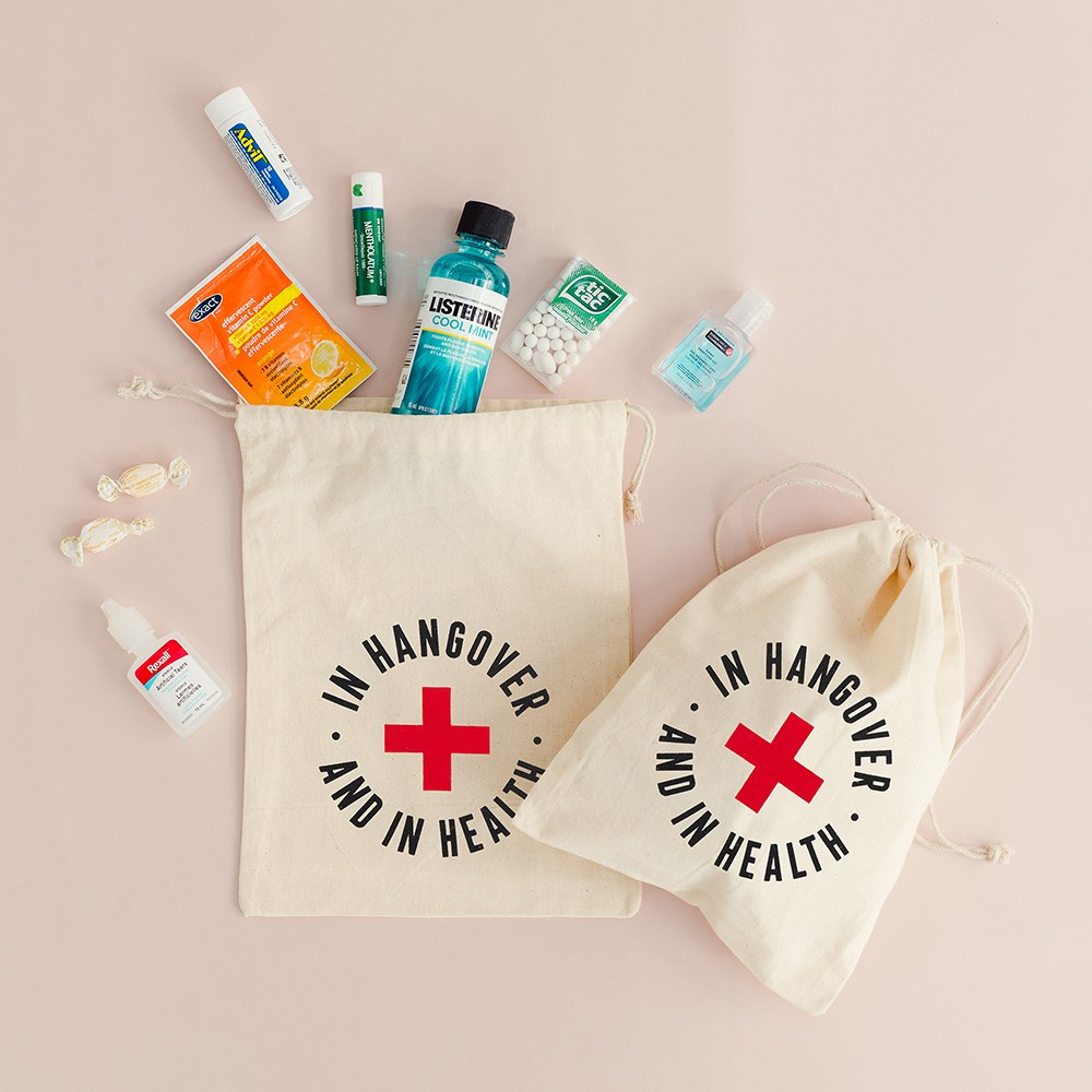 Hangover Survival Kit White Cotton Drawstring Bag - In Hangover and In Health