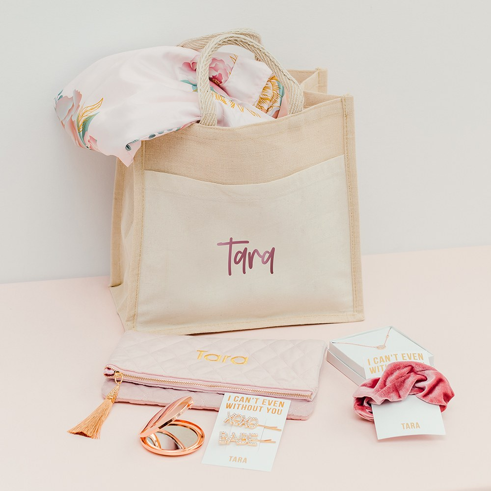 Personalized Medium Woven Jute Tote Bag with Pocket - Script Font