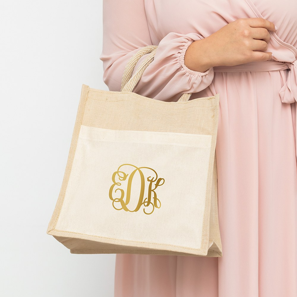 Personalized Medium Woven Jute Tote Bag with Pocket - Script Monogram