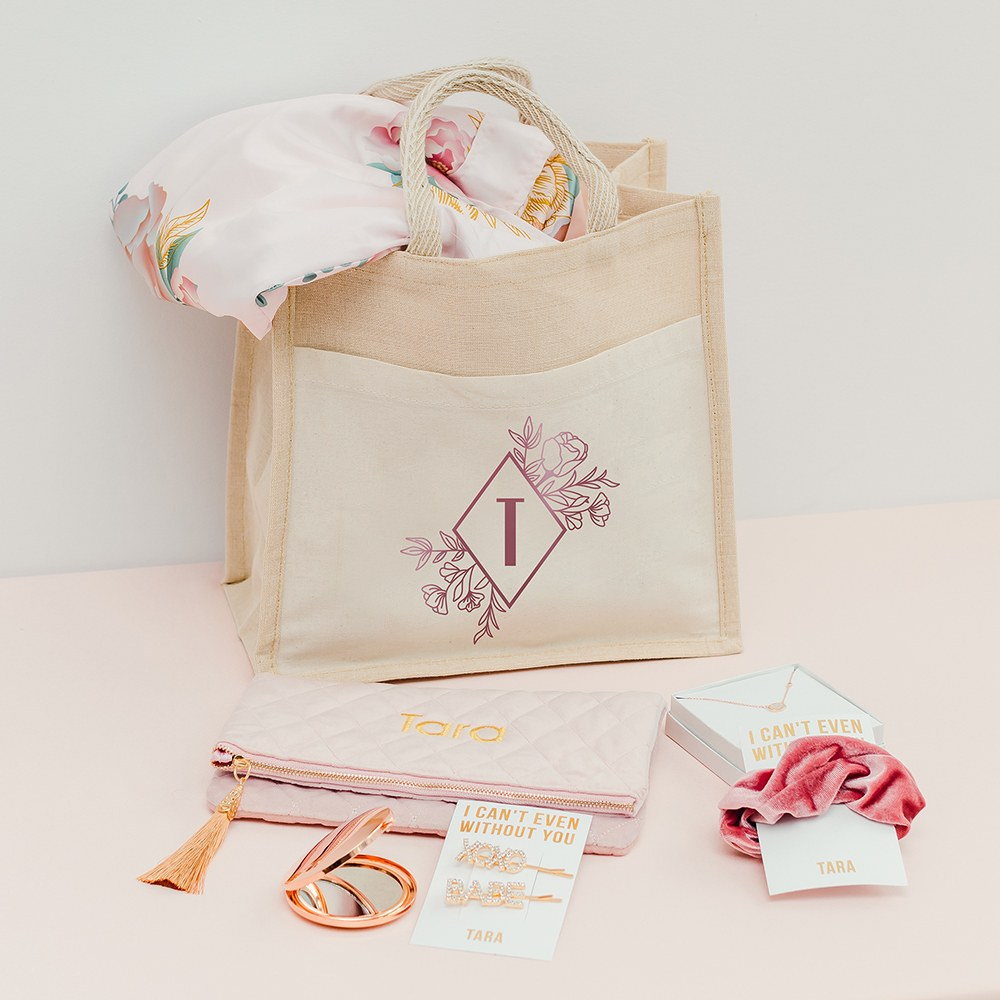 Personalized Medium Woven Jute Tote Bag with Pocket - Floral Monogram