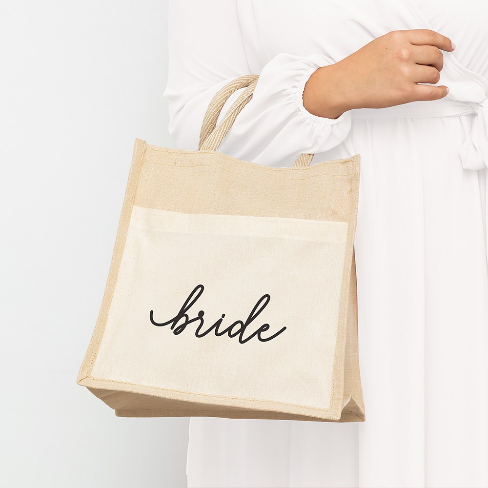 Medium Reusable Woven Jute Tote Bag with Pocket - Bride