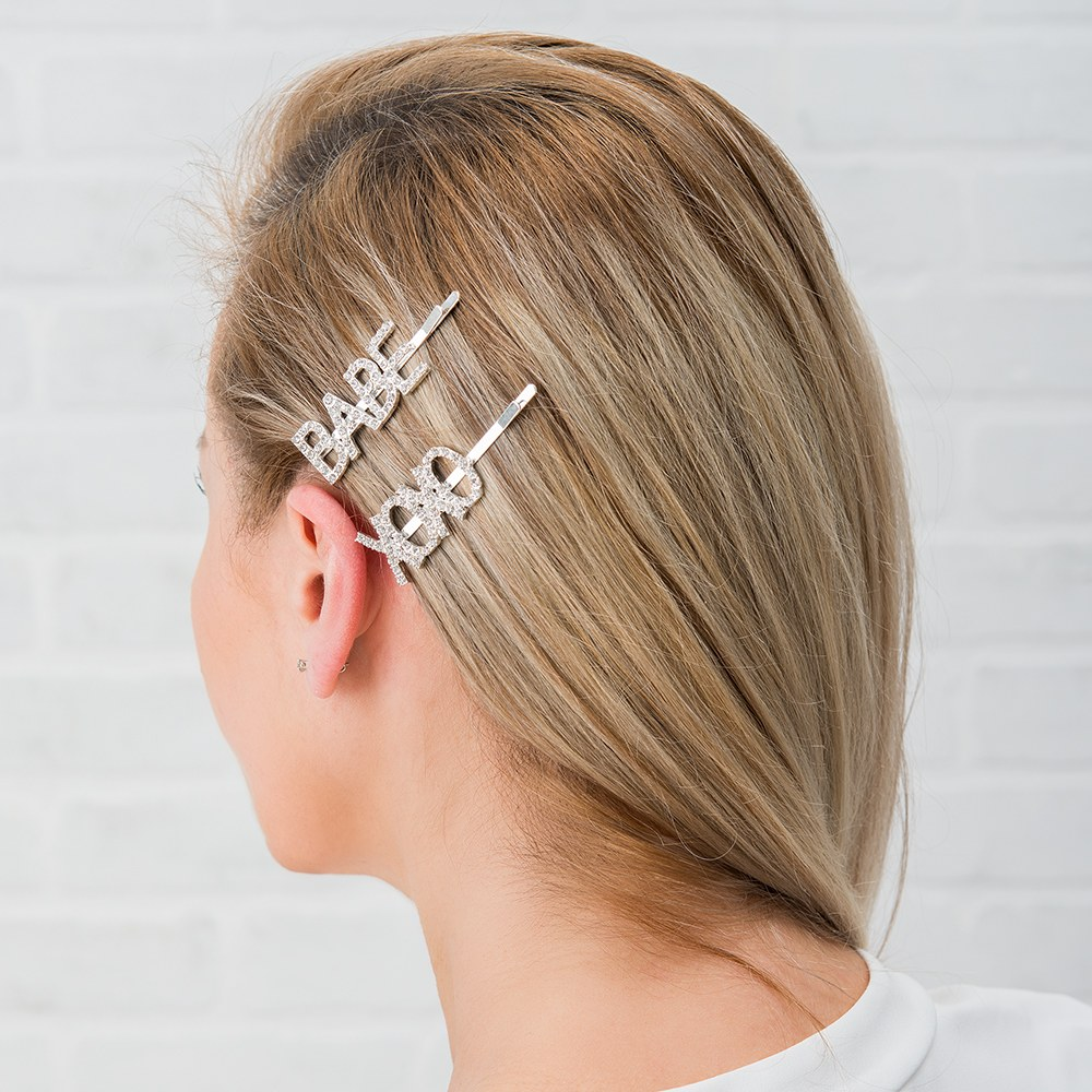 Rhinestone Bridal Party Word Hair Clips - XOXO Babe