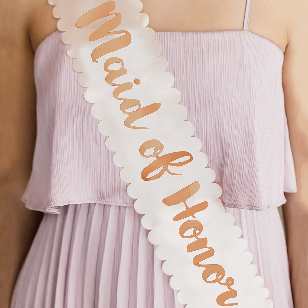 Blush Pink & Rose Gold Satin Bachelorette Party Sash - Maid of Honor