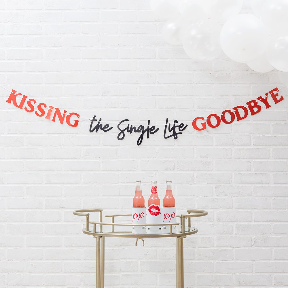 Paper Bachelorette Party Banner - Kissing The Single Life Goodbye