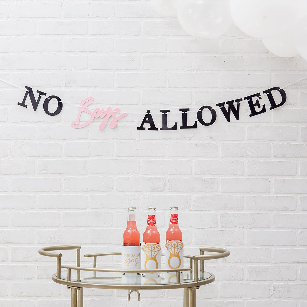 Paper Bachelorette Party Banner - No Boys Allowed