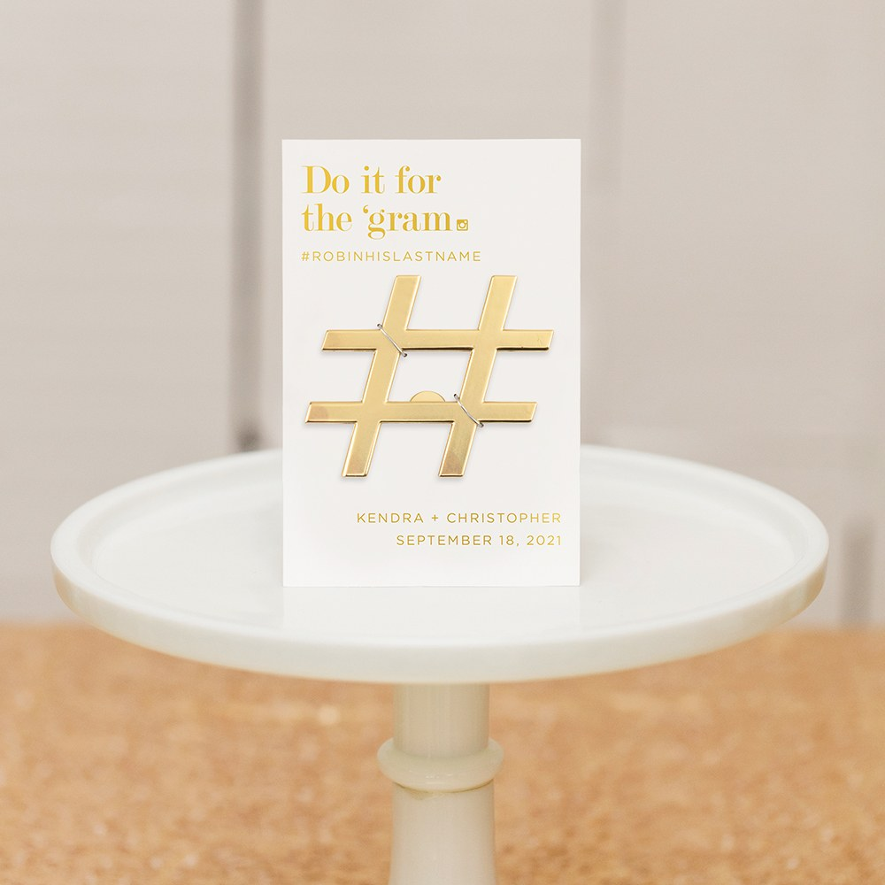 Gold Hashtag Bottle Opener Wedding Favor - For the 'Gram