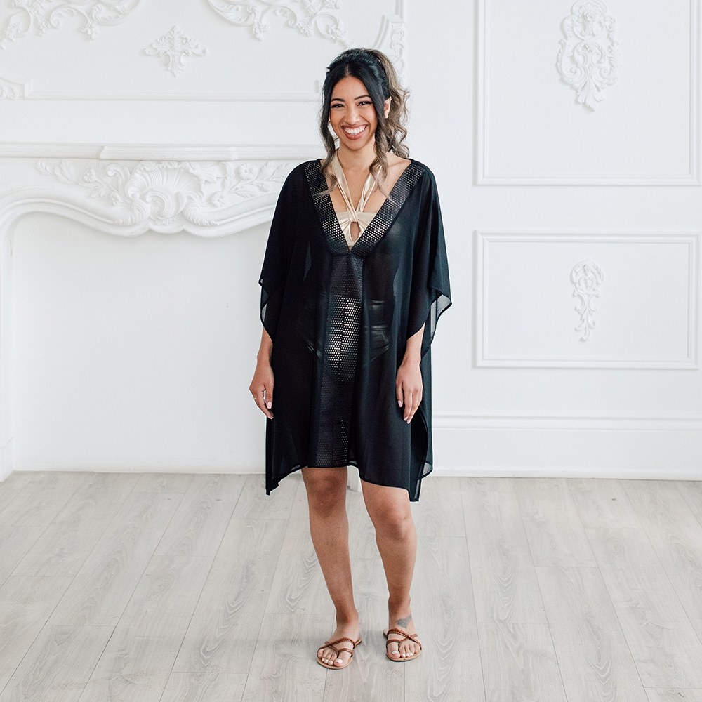 Sheer Swimsuit Cover-Up - Beach Shirt Dress
