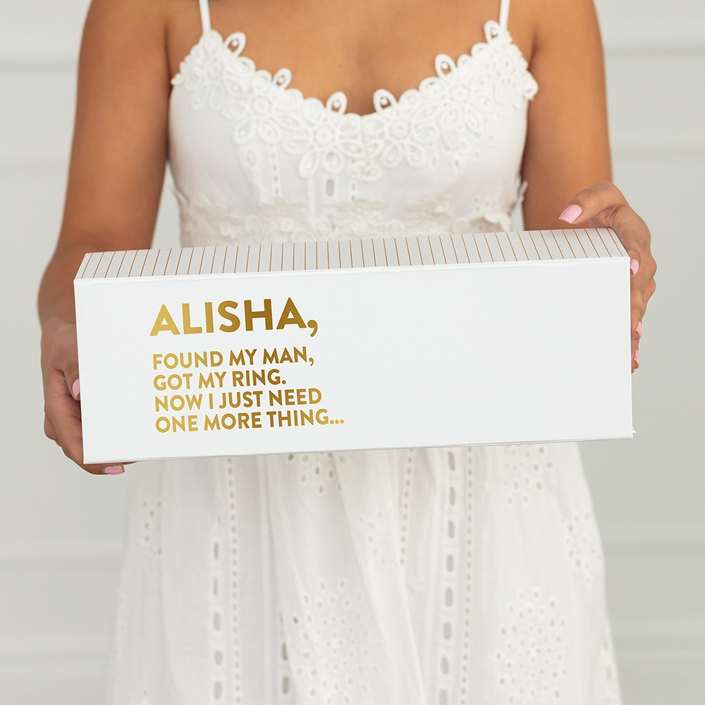 White Personalized Wine Gift Box with Magnetic Lid - One More Thing