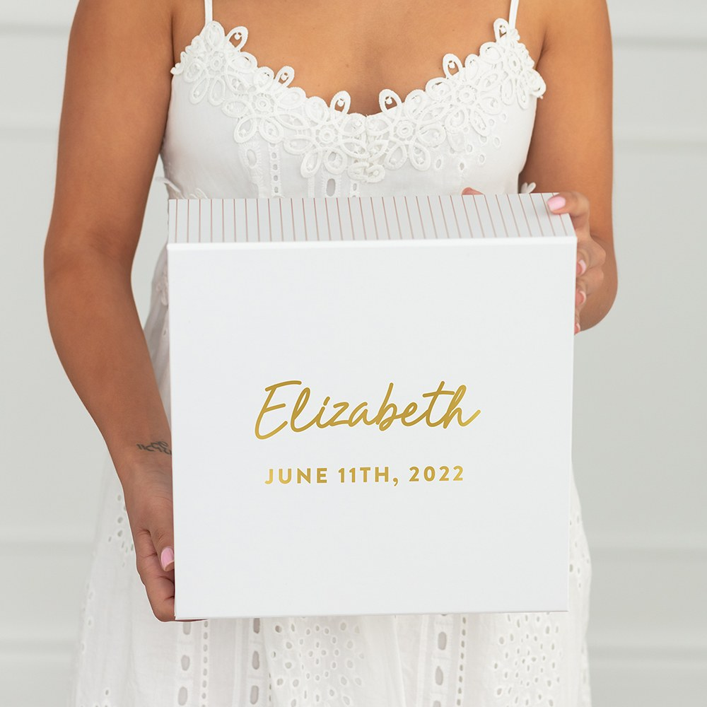 Large Personalized White Bridal Party Gift Box with Magnetic Lid - Script Font