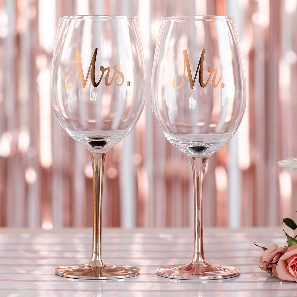 Rose Gold Stemmed 18 oz. Wine Glass - Mrs.