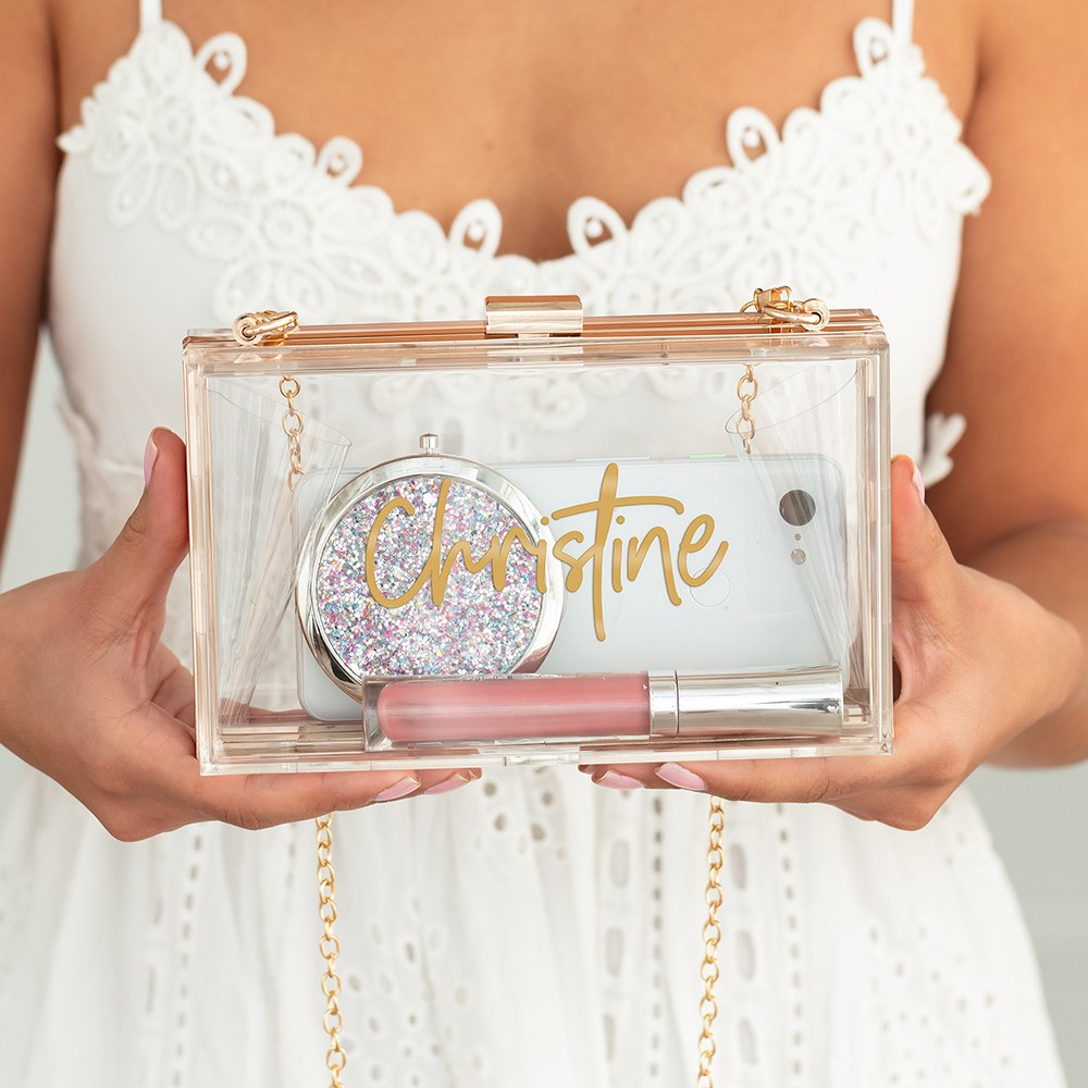 Personalized Acrylic Box Clutch - Script Font