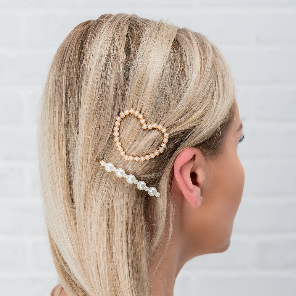 Bridal Party Hair Clips - Pearl Heart