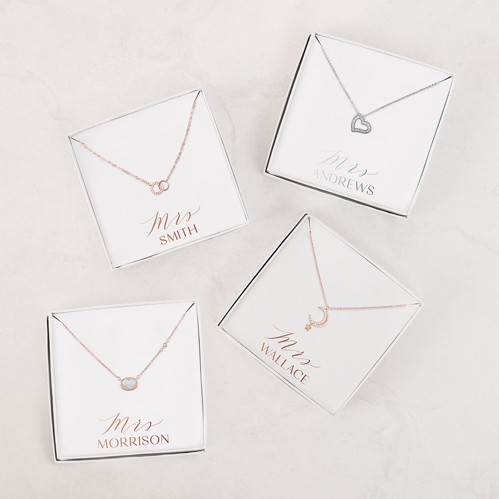 Personalized Bridal Party Pendant Necklace - Mrs