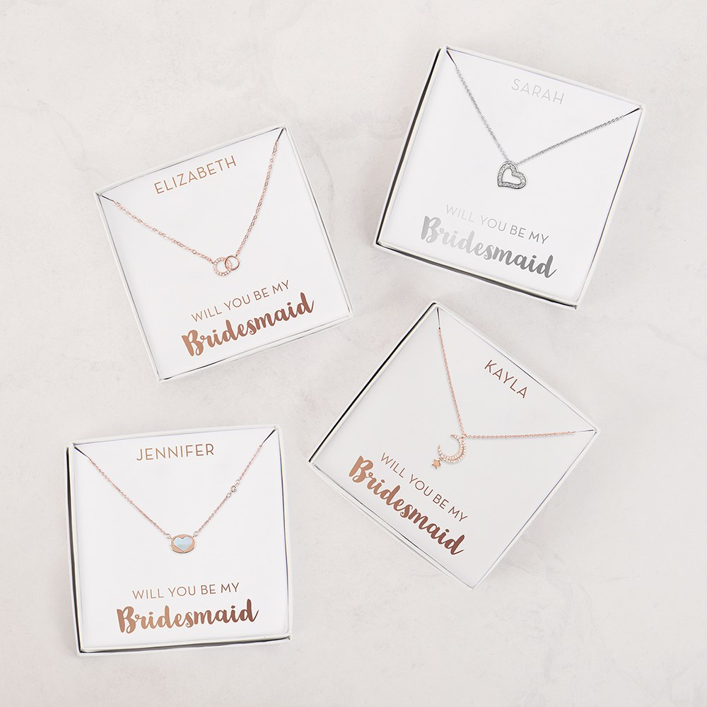 Personalized Bridal Party Pendant Necklace - Be My Bridesmaid
