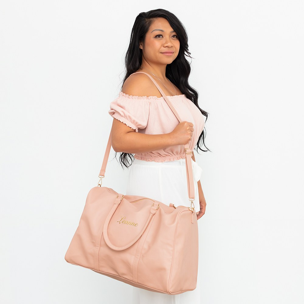 Women's Custom Embroidered Faux Leather Weekender Travel Bag - Light Pink