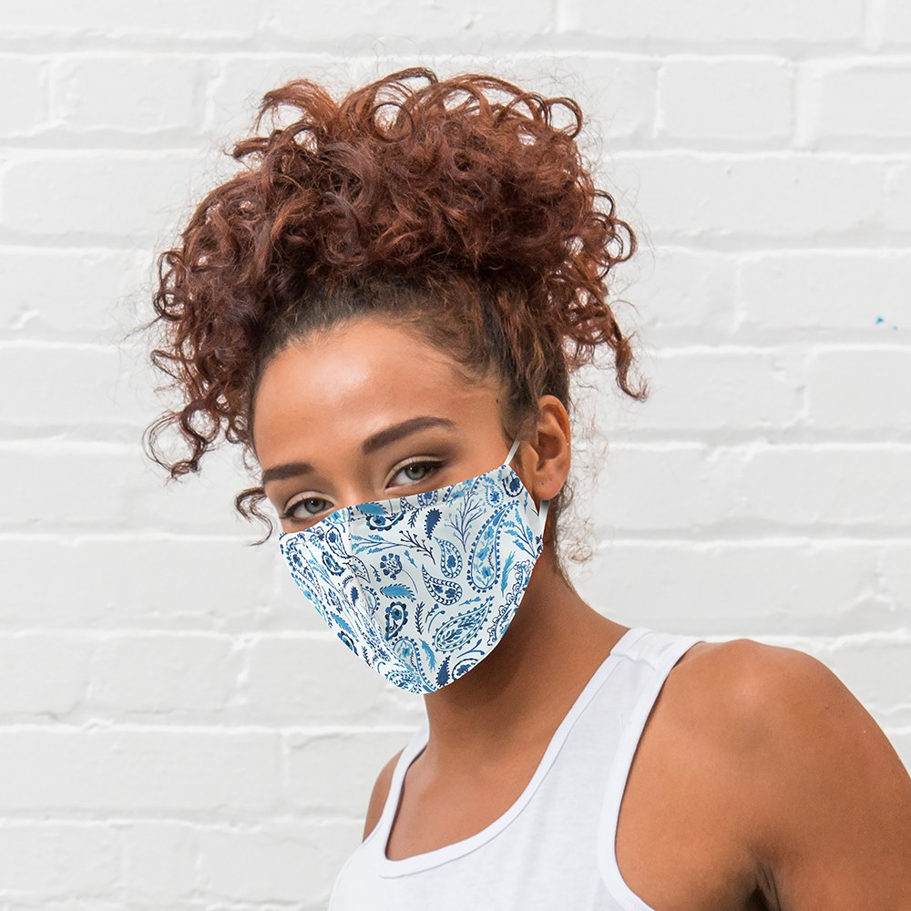 Women's Protective Cloth Face Mask - Blue Paisley