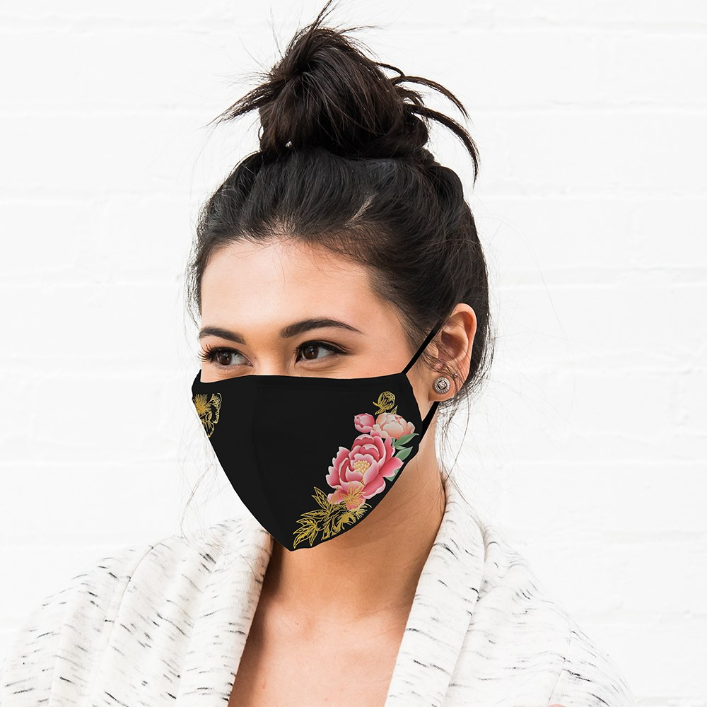 Women's Protective Cloth Face Mask - Black Modern Floral