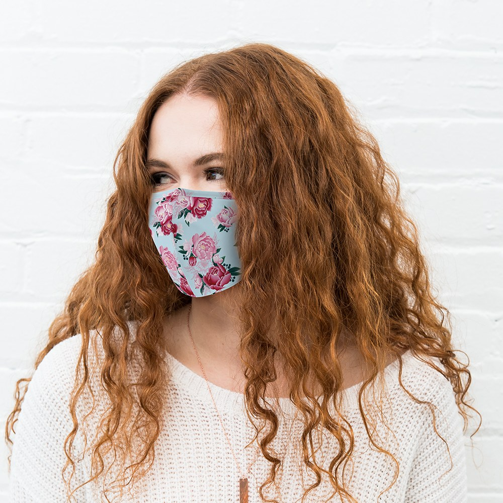 Women's Protective Cloth Face Mask - Blue Modern Floral