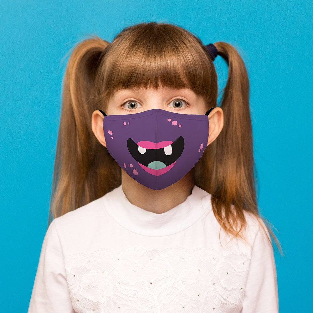 Kid's Protective Cloth Face Mask - Little Purple Monster