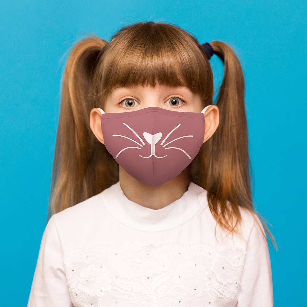 Kid's Protective Cloth Face Mask - Pink Kitty