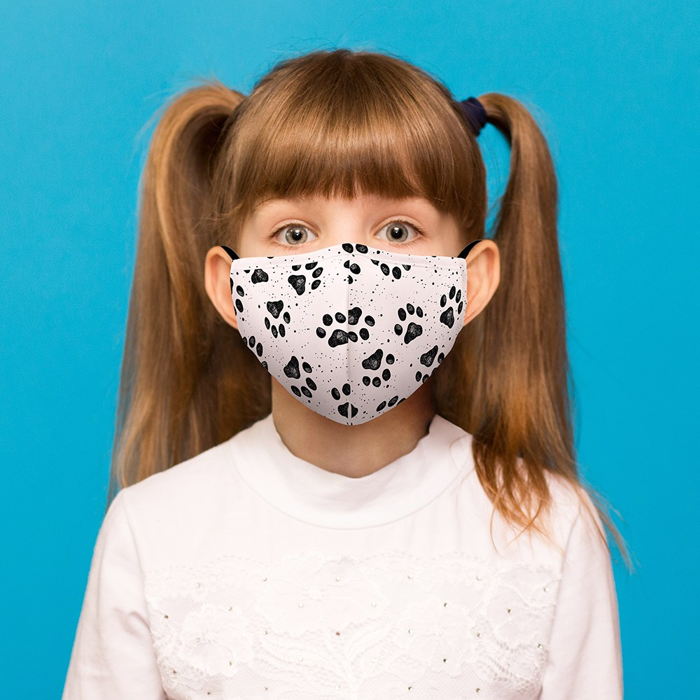 Kid's Protective Cloth Face Mask - Paw Prints