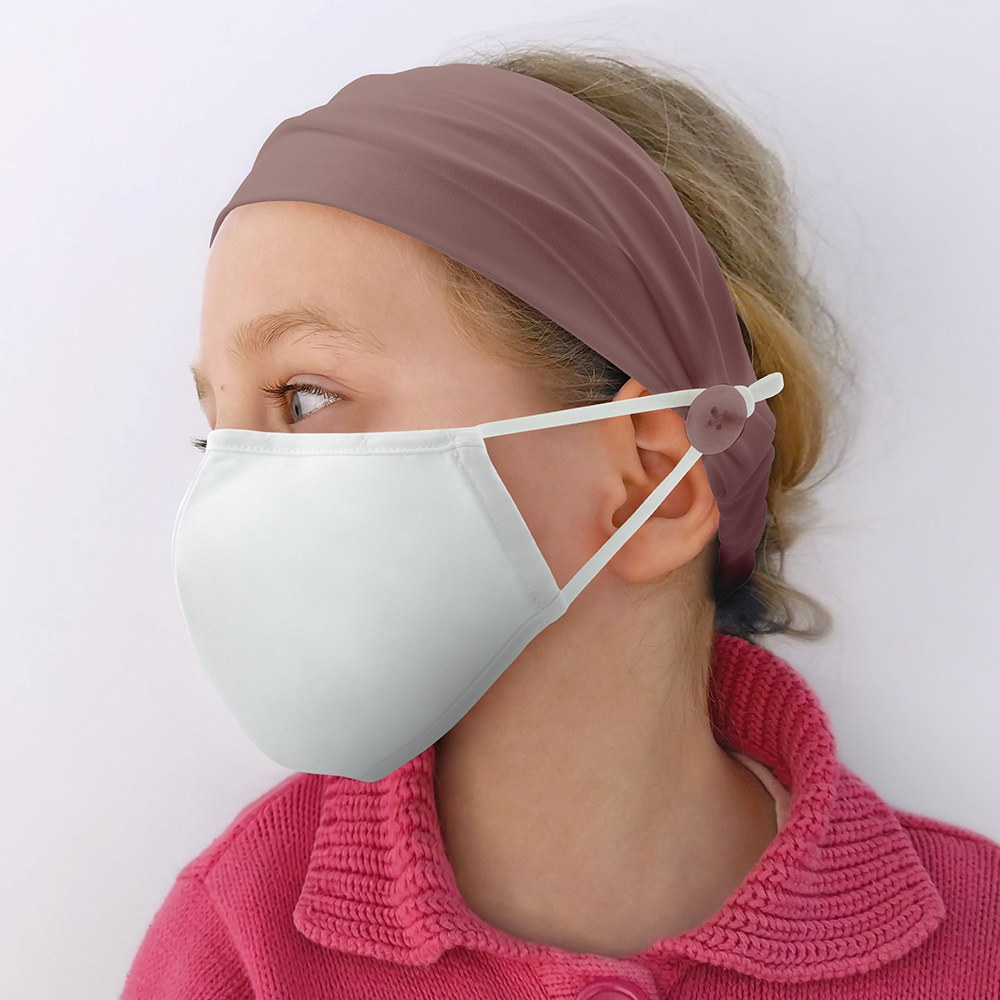 Kids Face Mask Headband Holder - Mauve