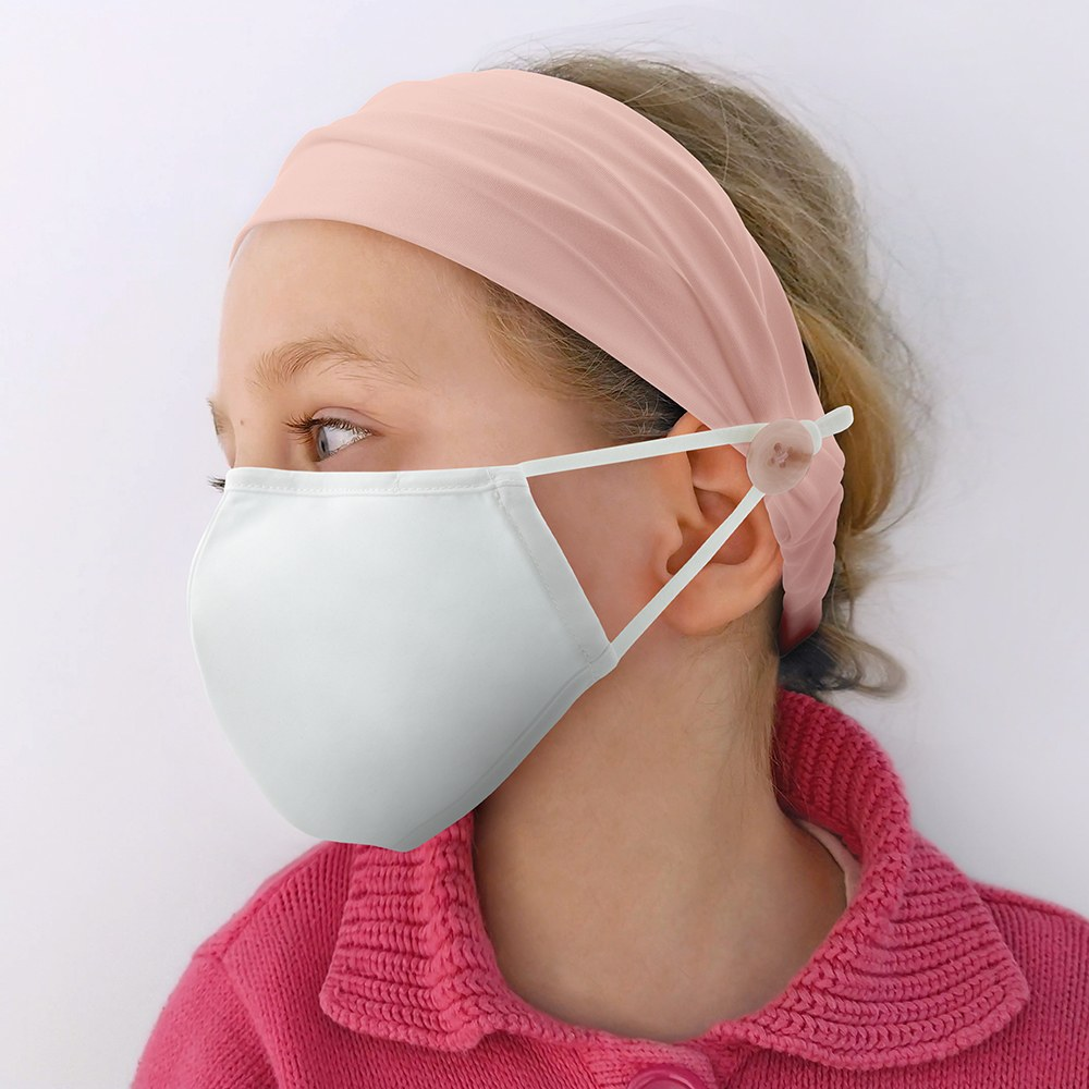 Kids Face Mask Headband Holder - Blush Pink