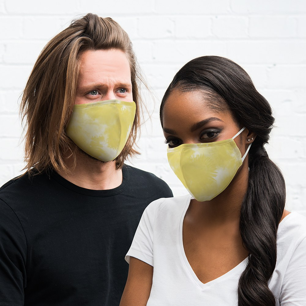 Adult Protective Cloth Face Mask - Yellow Tie-Dye