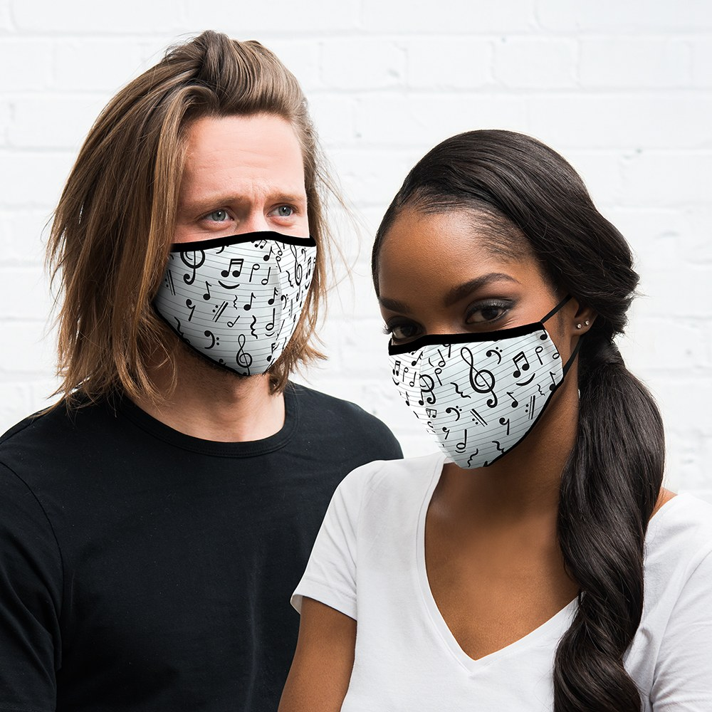 Adult Protective Cloth Face Mask - Music Notes