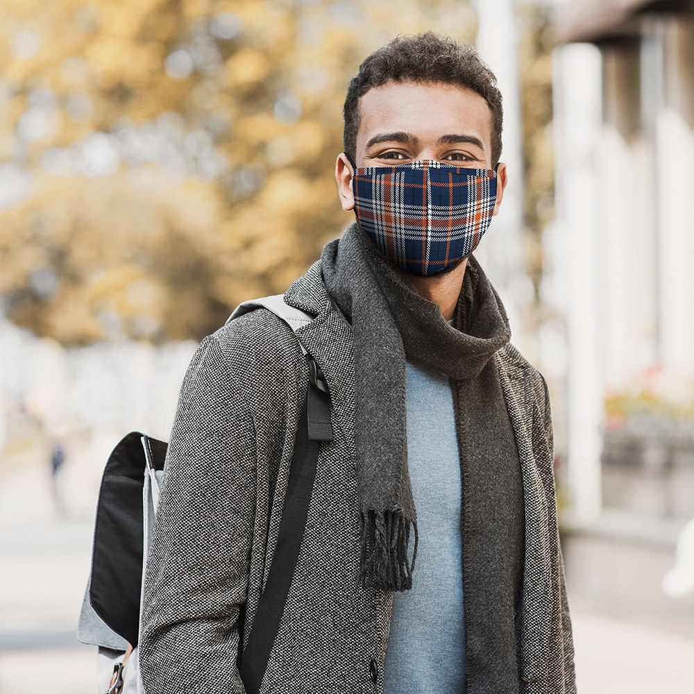 Adult Protective Cloth Face Mask - Navy Plaid