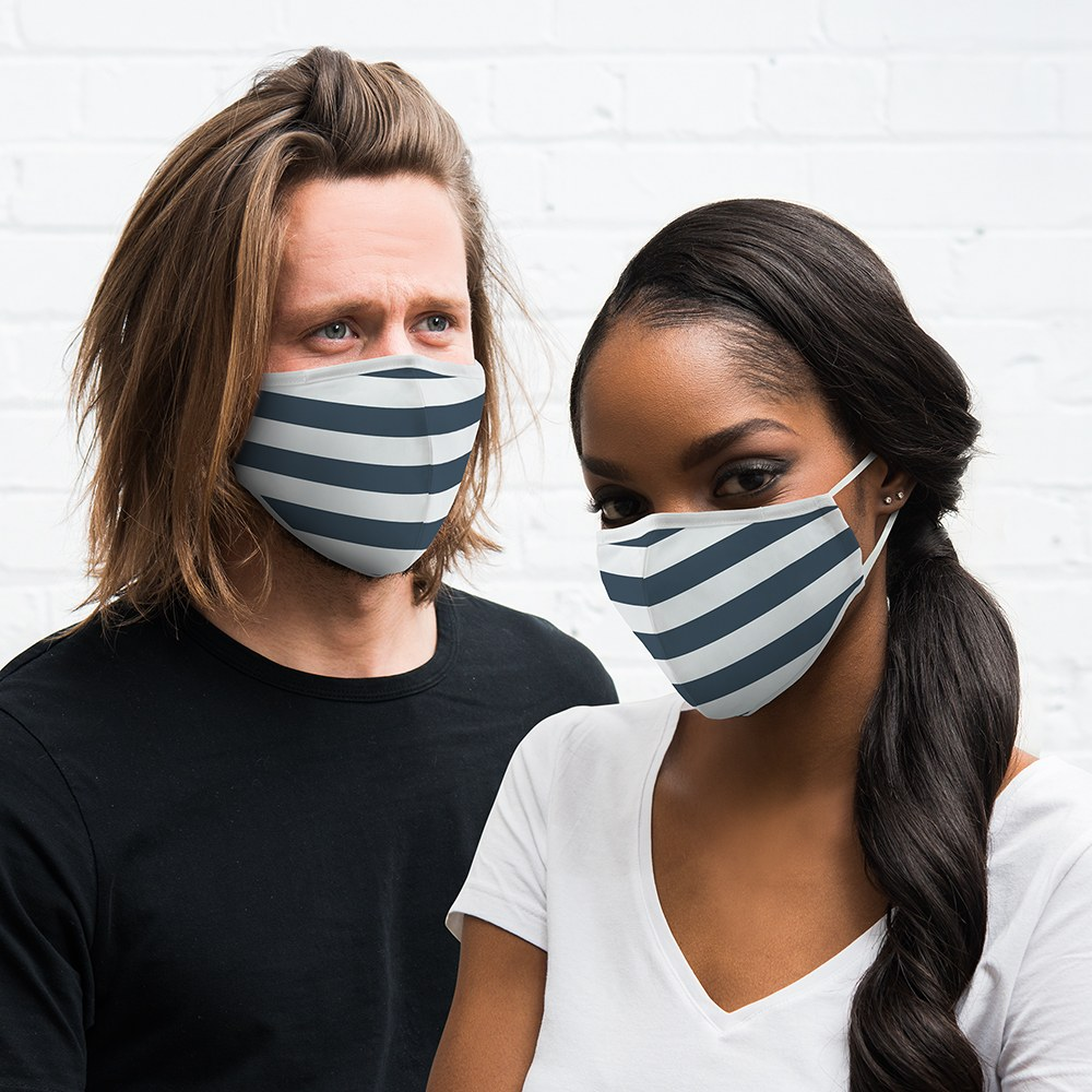 Adult Protective Cloth Face Mask - Navy Stripes