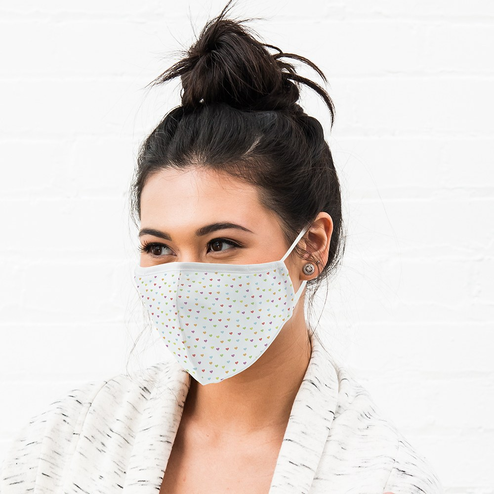 Adult Protective Cloth Face Mask - Heart Dot