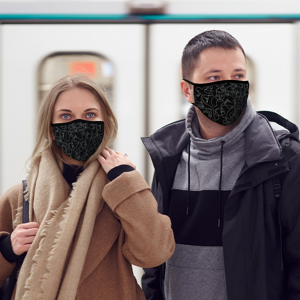 Adult Protective Cloth Face Mask - Many Faces