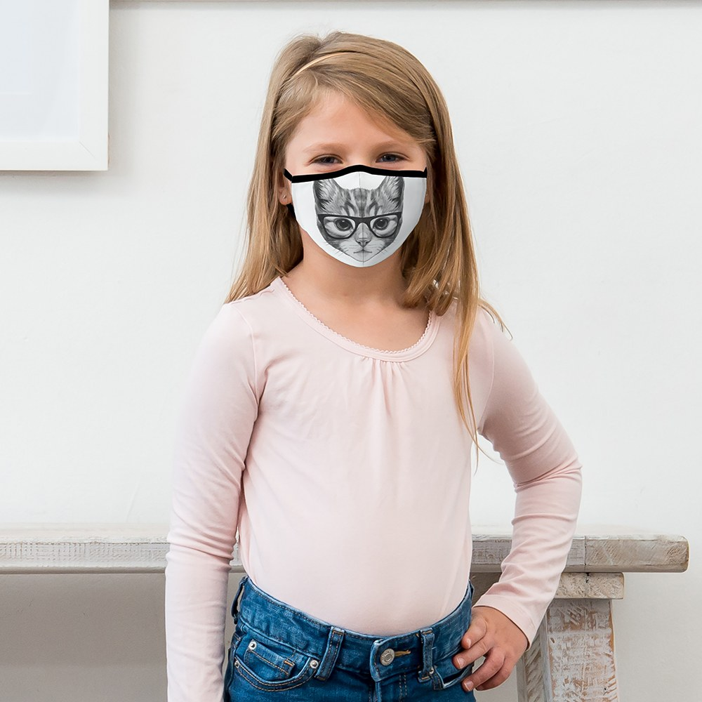 Kid's Protective Cloth Face Mask - Nerdy Cat