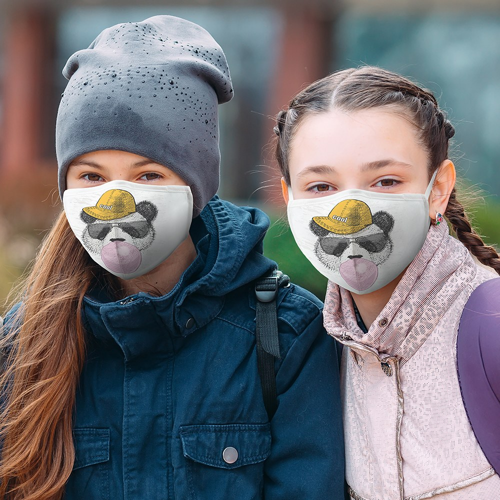 Kid's Protective Cloth Face Mask - Hipster Panda