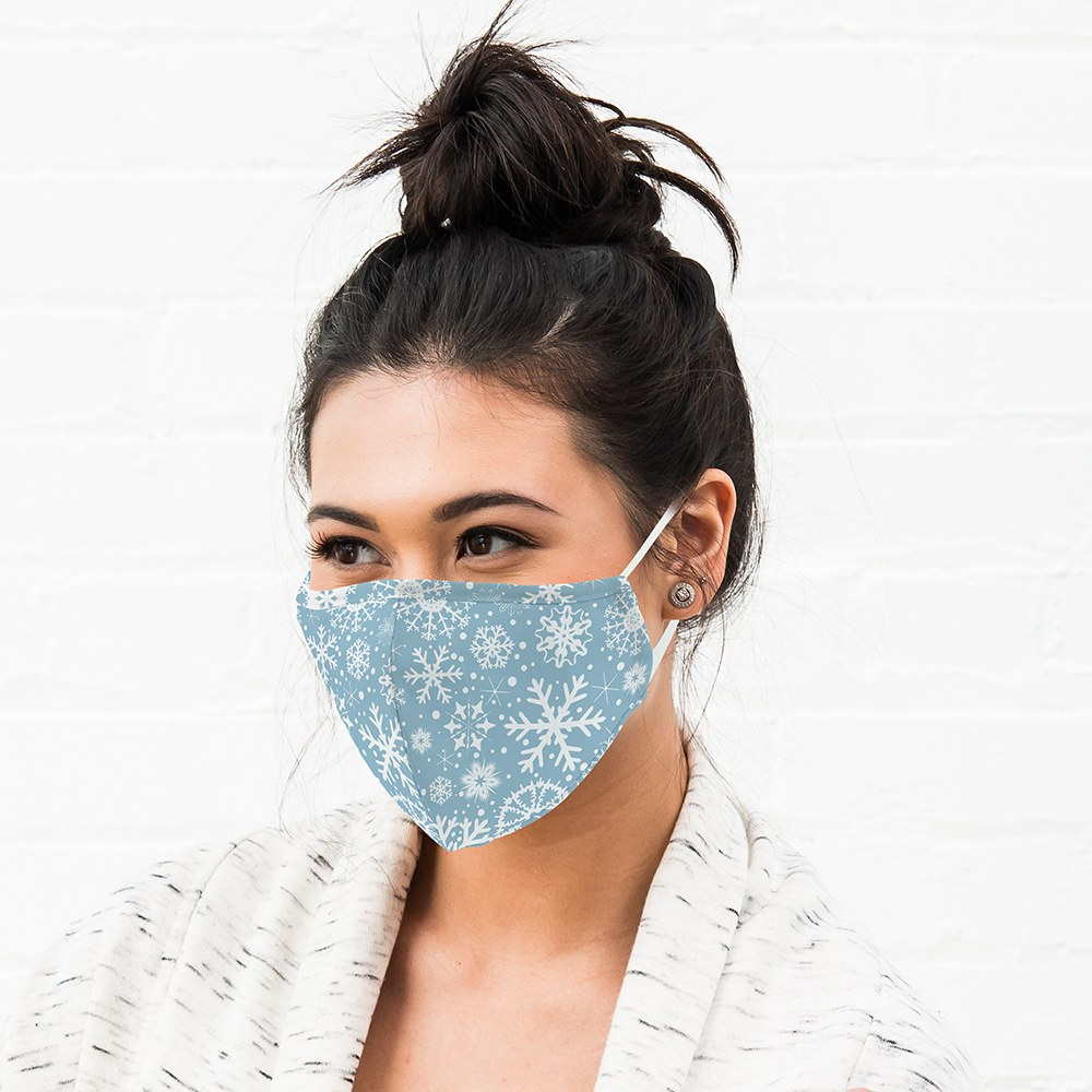 Adult Reusable, Washable Cloth Face Mask With Filter Pocket - Falling Snowflakes