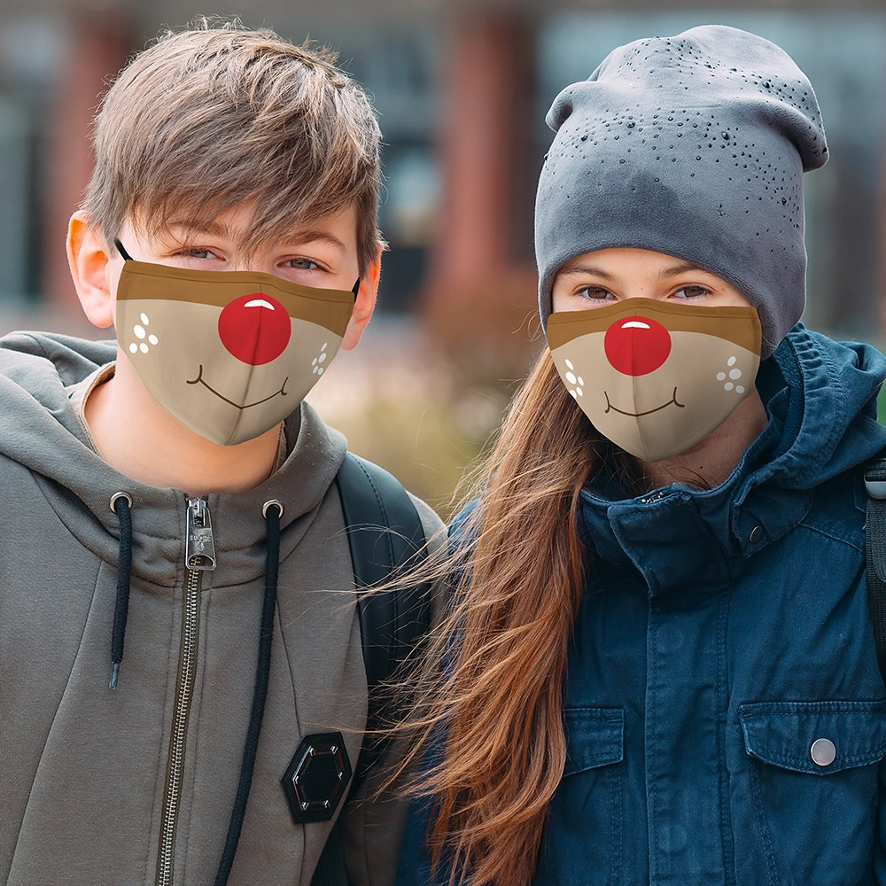 Kid's Reusable, Washable Cloth Face Mask With Filter Pocket - Rudolph