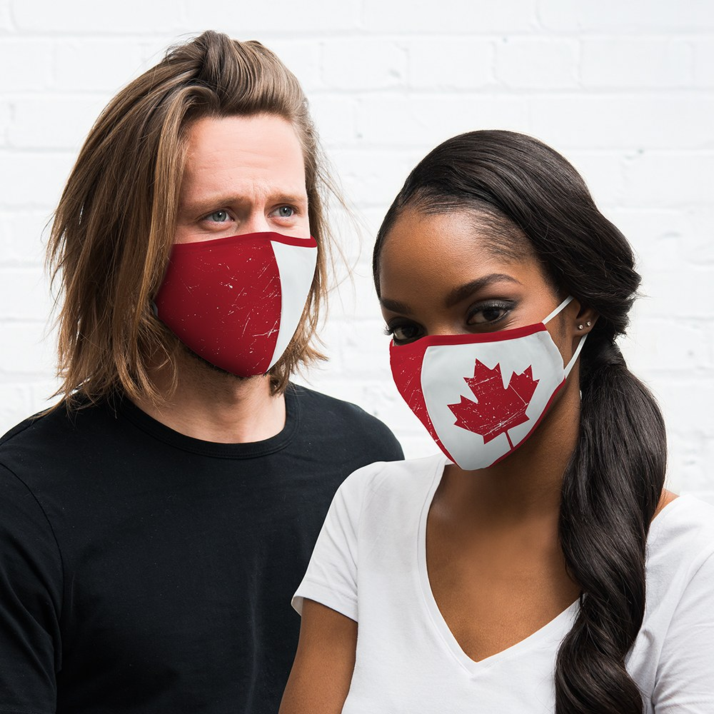 Adult Reusable, Washable Cloth Face Mask With Filter Pocket - Canadian Flag