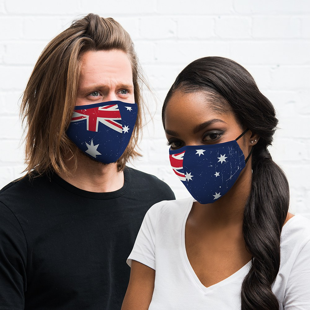 Adult Reusable, Washable Cloth Face Mask With Filter Pocket - Australian Flag