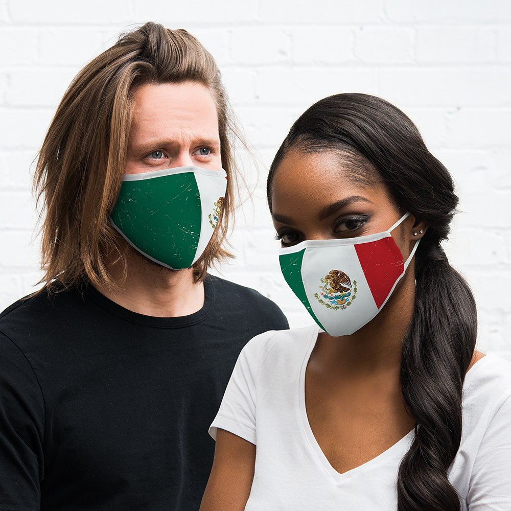 Adult Reusable, Washable Cloth Face Mask With Filter Pocket - Mexican Flag