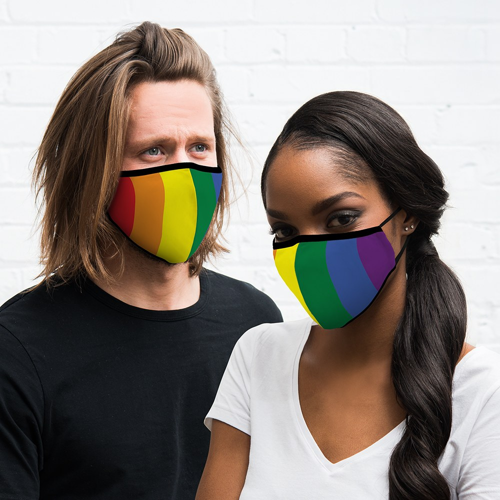 Adult Reusable, Washable Cloth Face Mask With Filter Pocket - Pride Flag