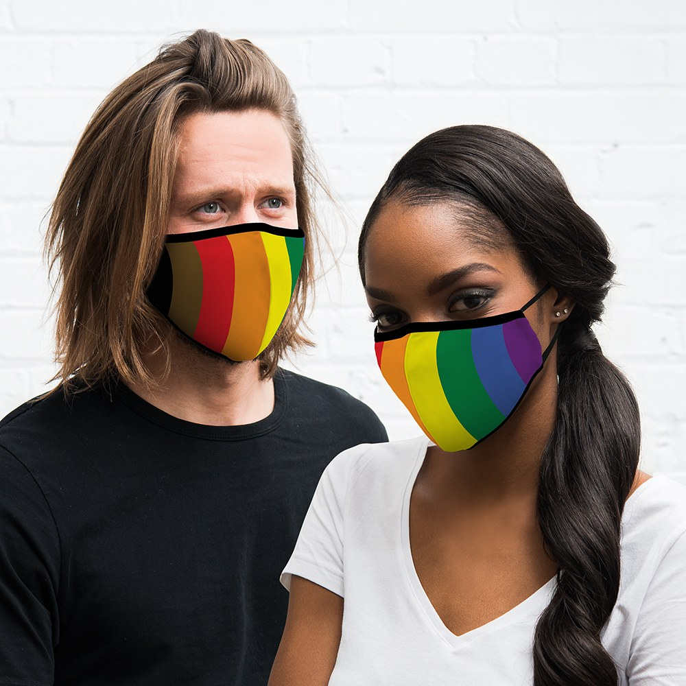 Adult Reusable, Washable Cloth Face Mask With Filter Pocket - People Of Color Pride Flag