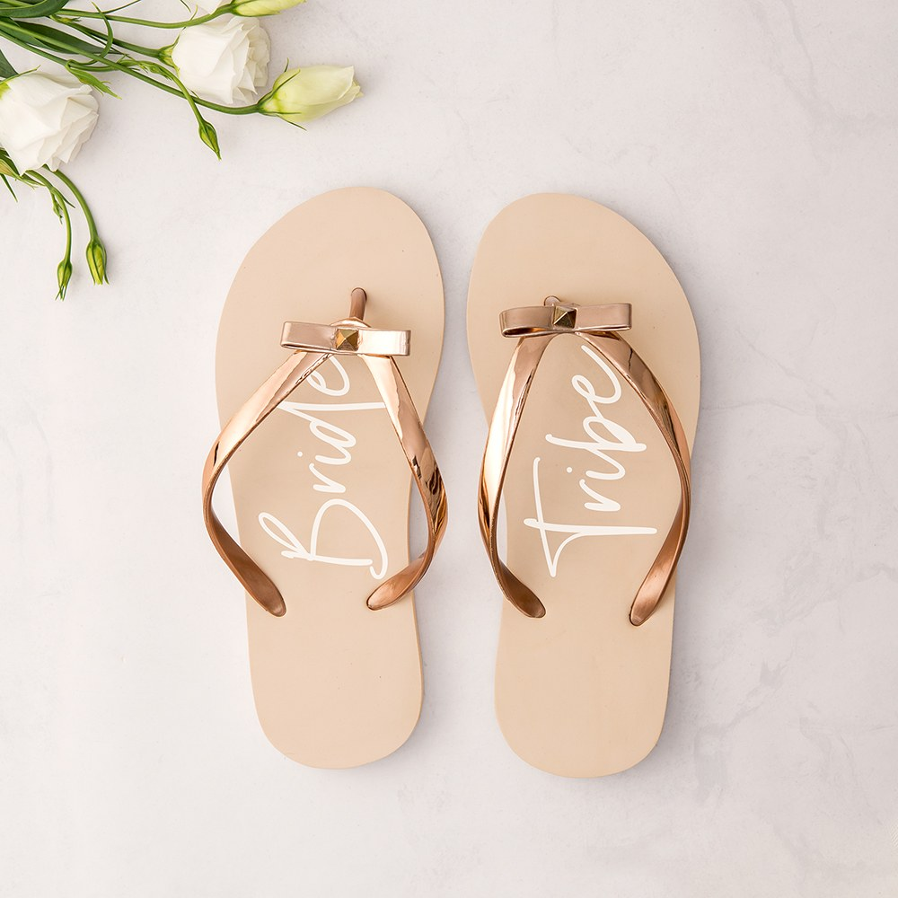 Small Bride Tribe Blush Flip Flops